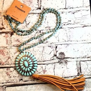 Faux turquoise silvertone concho tassel necklace